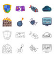 isolated object of virus and secure icon set of vector image