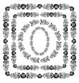 Khokhloma Floral Pattern frame vector image vector image