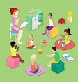 kindergarden interior with children isometric vector image
