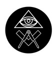 masonic eye symbol in black circle - all seeing vector image