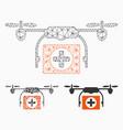 medical drone mesh wire frame model vector image vector image
