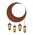 moon with arabic lamps ramadan kareem vector image