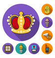 museum and gallery flat icons in set collection vector image
