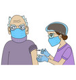 nurse vaccinating a senior man with face mask vector image vector image