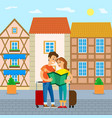 people lost in old city couple reading travel map vector image