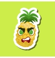 PineappleAngry Cute Emoji Sticker On Green vector image vector image