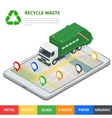 Recycle waste concept Garbage disposal with gps vector image vector image