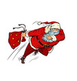 santa claus is running with a gift bag christmas vector image vector image