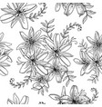 seamless pattern contour lily flowers vector image