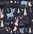 seamless winter pattern with dear bunny bear and vector image
