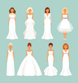 set of brides in wedding dresses vector image