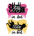 set with cats on sofa and lettering text vector image