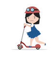 small girl riding kick scooter vector image vector image