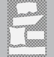 white paper torn note collection on checkered vector image