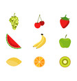 set of fruits in a flat style fruits and berries vector image