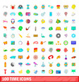100 time icons set cartoon style vector image