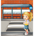 A smiling young woman standing near the pedestrian vector image vector image