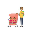 african father beard baby sister brother twins vector image