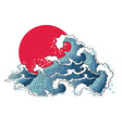 asian ocean waves and sun vector image
