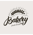 Bakery Hand written lettering logo with ear of vector image