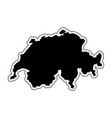 black silhouette of the country switzerland with vector image