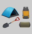 camping realistic travel elements guitar tent vector image
