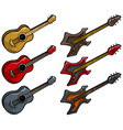 cartoon colored electric and acoustic guitar set vector image