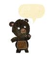 cartoon curious black bear with speech bubble vector image vector image