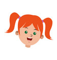 cartoon face girl funny student vector image