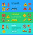 cartoon lifeguard banner horizontal set vector image vector image