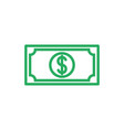 cash color icon line green dollar symbol i vector image