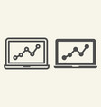 chart on laptop line and glyph icon graph on vector image