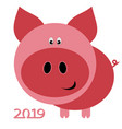 chinese new year card for 2019 with pig on white vector image
