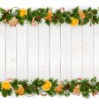christmas background with white plank vector image vector image