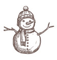 christmas card with sketch snowman vector image vector image