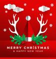 christmas new year papercut santa claus hat card vector image vector image