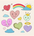 collection of hand drawing heart love shape vector image