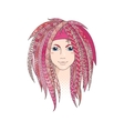 Colorful young girl with patterned zentangle vector image