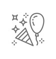 confetti party popper with balloon line icon