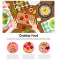 cooking food poster with different ingredients on vector image