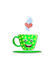 cute cartoon steaming green cup with heart vector image