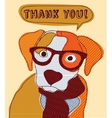 cute dog thank you card patchwork vector image