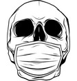 draw in black and white skull face in medical vector image vector image