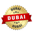 Dubai round golden badge with red ribbon vector image