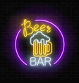 glowing neon beer bar signboard in circle frame vector image vector image