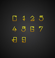 Gold Numbers Set vector image