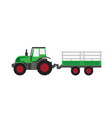 green tractor with trailer vector image