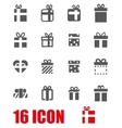 grey gift icon set vector image vector image