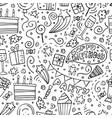hand-drawn seamless pattern with birthday doodles vector image vector image