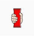 hand hold blank plastic pouch food packaging vector image